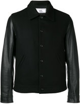 Ami Alexandre Mattiussi bimaterial bomber jacket - men - Leather/Virgin Wool/Polyimide - XS