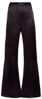 Ellery Revolver flared silk-satin trousers
