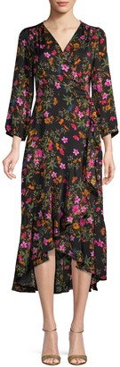 Ava & Aiden Floral Three-Quarter Sleeve Wrap Dress