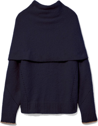 Proenza Schouler Textured Fold Over Knit Top in Navy