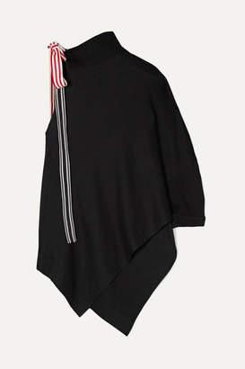 Monse Asymmetric Grosgrain-trimmed Cotton And Modal-blend Jersey Top - Black