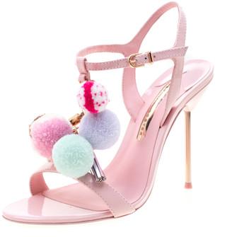 Sophia Webster Pink Leather Layla Pom Pom Embellished T-Strap Sandals Size 39.5