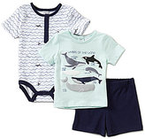Starting Out Baby Boys Newborn-9 Months Nautical Short-Sleeve Shirt, Whale Bodysuit, & Shorts 3-Piece Set