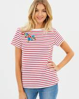 Emily Stripe Embroidered Tee
