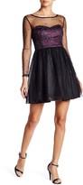 Minuet Long Sleeve Sequin Mesh Dress