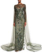 Monique Lhuillier Geometric-Beaded Long-Sleeve Cape Gown, Forest Green