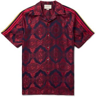 Gucci Camp-Collar Webbing-Trimmed Jacquard Shirt - Men - Red
