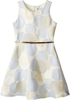 Us Angels Sleeveless Dot Printed Borcade Dress (Big Kids)