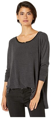 Hard Tail Shirttail Notch Front Tee (Black) Women's Clothing