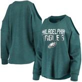 New Era Women's Heathered Midnight Green Philadelphia Eagles Cold Shoulder Tri-Blend Raglan Long Sleeve T-Shirt