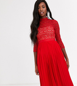 Little Mistress Tall midi length 3/4 sleeve lace dress in tomato red