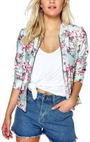 Sun-shine Trade Women Floral Printed Quilted Lightweight Short Bomber Jacket Hoodie Sweater