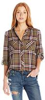 My Michelle Juniors Brushed Flannel Plaid Button Front with Roll Tab Sleeves