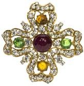 Chanel Goldtone Rhinestones and Gripoix Vintage Clover Brooch