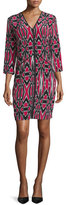 Natori Abstract-Print Silk Dress, Cerise