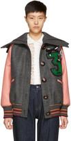 Miu Miu Pink & Grey Oversized Bomber Jacket
