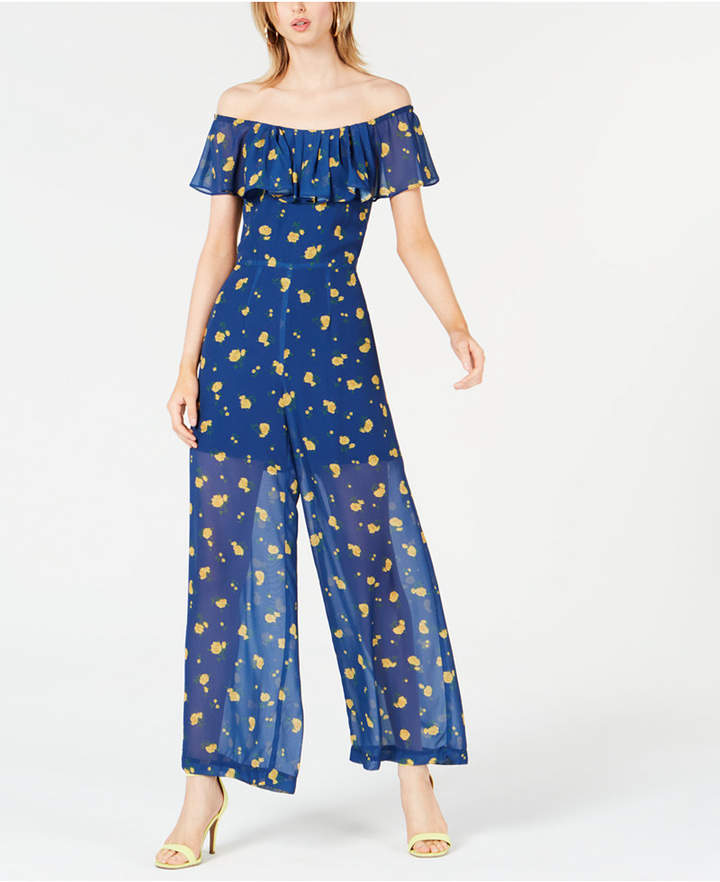 Petite Floral Off-The-Shoulder Jumpsuit