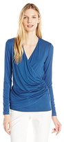 Karen Kane Women's Long Sleeve Faux Wrap Top