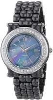 Peugeot Women's PS4905BS Swiss Ceramic Black Crystal Bezel Watch