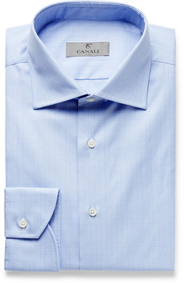 Canali Light-Blue Cutaway-Collar Prince Of Wales Checked Cotton-Poplin Shirt