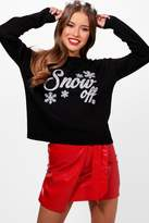 boohoo Petite Ellie Snow Off Slogan Christmas Jumper