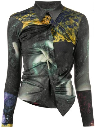 Ottolinger Abstract-Print Draped Shirt