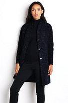 Lands' End Women's Boucle Cocoon Coat-Navy Lurex