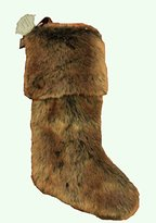 """Nicole Miller Home Luxury Brown Ombre Black Faux Fur 22"""" Christmas Stocking"""