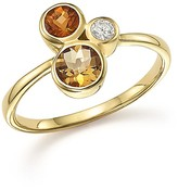 Bloomingdale's Citrine and Diamond 3 Stone Ring in 14K Yellow Gold
