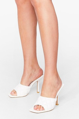 Nasty Gal Womens Quilt While You're Ahead Faux Leather Stiletto Mules - White - 5, White
