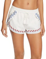 Red Carter Lemon Embroidered Swim Cover Up Shorts