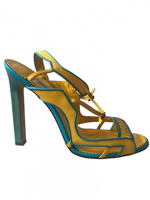Manolo Blahnik Yellow Leather Sandals