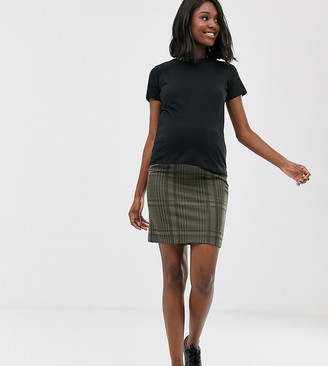 Mama Licious Mama.Licious Mamalicious maternity checked jersey skirt-Green