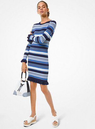 Michael Kors Striped Ribbed Knit Ruffle-Trim Dress