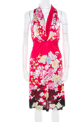 Roberto Cavalli Raspberry Pink Flower Printed Stretch Knit Sleeveless Dress S