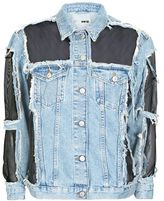 Tall moto organza denim jacket