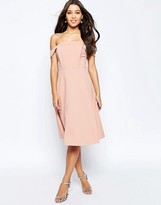 Asos Midi Dress with Off Shoulder and Full Skirt