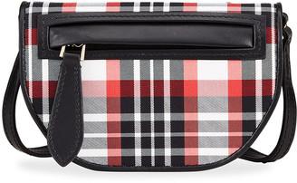 Burberry Olympia Micro Tartan Nylon & Leather Crossbody Bag