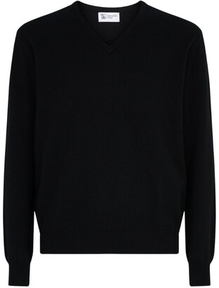 Johnstons of Elgin Cashmere V-Neck Sweatshirt