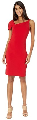 Nicole Miller Heavy Jersey One Shoulder Mini Dress (Cherry Red) Women's Dress