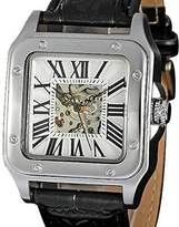 selected luxuries Men's Classic Skeleton Watch Auto-wind with Leather Band Square Shape