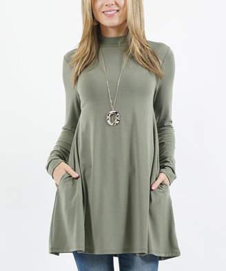 Lydiane Women's Tunics LTOLIVE - Light Olive Mock Neck Long-Sleeve Pocket Tunic - Women & Plus