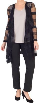Chesca Sheer Stripe Crush Pleat Jacket, Black