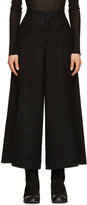 Y's Ys Black Wool Cropped Trousers