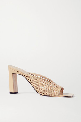 Wandler Isa Woven Leather Mules - Tan