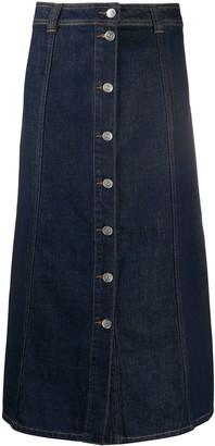Ganni denim A-line skirt