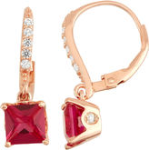 FINE JEWELRY Lab-Created Ruby Diamond Accent 14K Rose Gold Over Silver Leverback Earrings