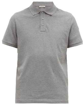 Moncler Logo-print Striped Undercollar Cotton Polo Shirt - Grey