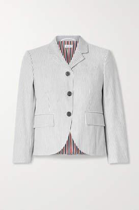 Thom Browne Striped Cotton-seersucker Blazer - Taupe
