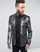 Asos Super Skinny Blazer In Silver Velvet